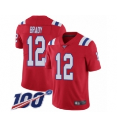 Men's New England Patriots #12 Tom Brady Red Alternate Vapor Untouchable Limited Player 100th Season Football Jersey