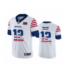 Men's New England Patriots #12 Tom Brady White Independence Day Limited Football Jersey