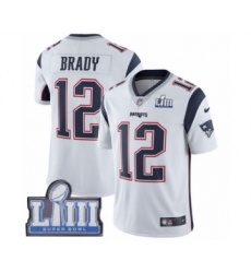 Men's Nike New England Patriots #12 Tom Brady White Vapor Untouchable Limited Player Super Bowl LIII Bound NFL Jersey