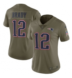 Women's Nike New England Patriots #12 Tom Brady Limited Olive 2017 Salute to Service NFL Jersey