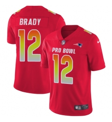 Youth Nike New England Patriots #12 Tom Brady Limited Red 2018 Pro Bowl NFL Jersey