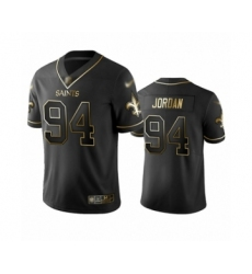 Men's New Orleans Saints #94 Cameron Jordan Limited Black Golden Edition Football Jersey