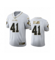 Men's New Orleans Saints #41 Alvin Kamara Limited White Golden Edition Football Jersey