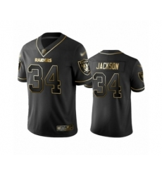 Men's Oakland Raiders #34 Bo Jackson Black Golden Edition Limited Player 100th Season Football Jersey