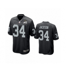Youth Oakland Raiders #34 Bo Jackson Game Black 60th Anniversary Team Color Football Jersey