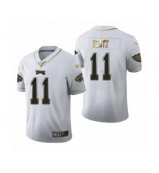 Men's Philadelphia Eagles #11 Carson Wentz Limited White Golden Edition Football Jersey
