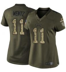 Women's Nike Philadelphia Eagles #11 Carson Wentz Elite Green Salute to Service NFL Jersey