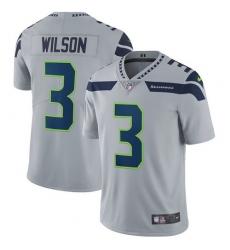 Men's Nike Seattle Seahawks #3 Russell Wilson Grey Alternate Vapor Untouchable Limited Player NFL Jersey