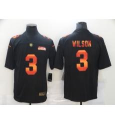 Men's Seattle Seahawks #3 Russell Wilson Black colorful Nike Limited Jersey