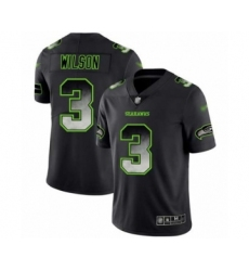 Men's Seattle Seahawks #3 Russell Wilson Limited Black Smoke Fashion Football Jersey