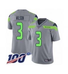 Men's Seattle Seahawks #3 Russell Wilson Limited Silver Inverted Legend 100th Season Football Jersey