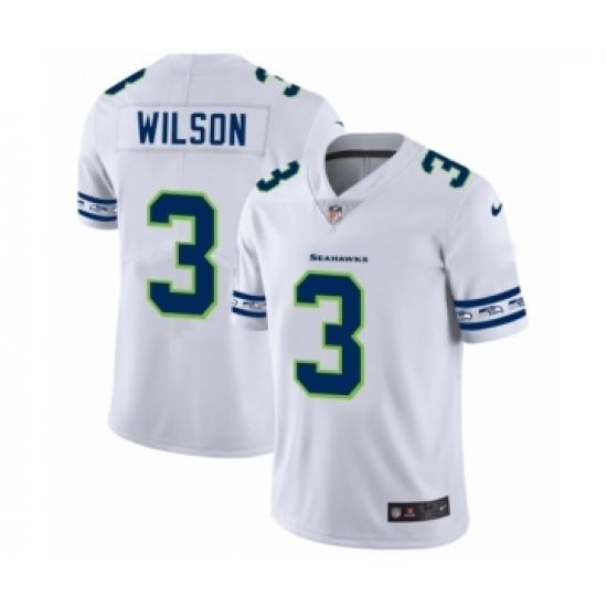 Men's Seattle Seahawks #3 Russell Wilson White Team Logo Cool Edition Jersey