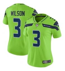 Women's Nike Seattle Seahawks #3 Russell Wilson Limited Green Rush Vapor Untouchable NFL Jersey