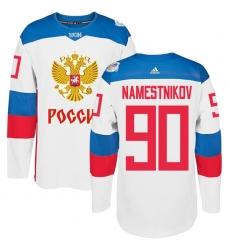 Men's Adidas Team Russia #90 Vladislav Namestnikov Authentic White Home 2016 World Cup of Hockey Jersey