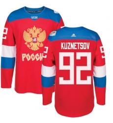 Men's Adidas Team Russia #92 Evgeny Kuznetsov Authentic Red Away 2016 World Cup of Hockey Jersey