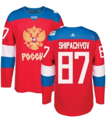 Men's Adidas Team Russia #87 Vadim Shipachyov Premier Red Away 2016 World Cup of Hockey Jersey