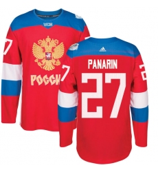Men's Adidas Team Russia #27 Artemi Panarin Premier Red Away 2016 World Cup of Hockey Jersey