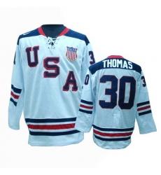 Men's Nike Team USA #30 Tim Thomas Premier White 1960 Throwback Olympic Hockey Jersey