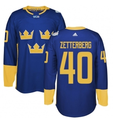 Men's Adidas Team Sweden #40 Henrik Zetterberg Premier Royal Blue Away 2016 World Cup of Hockey Jersey