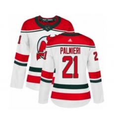 Women's Adidas New Jersey Devils #21 Kyle Palmieri Authentic White Alternate NHL Jersey