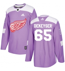 Men's Adidas Detroit Red Wings #65 Danny DeKeyser Authentic Purple Fights Cancer Practice NHL Jersey
