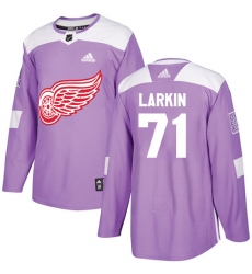 Youth Adidas Detroit Red Wings #71 Dylan Larkin Authentic Purple Fights Cancer Practice NHL Jersey