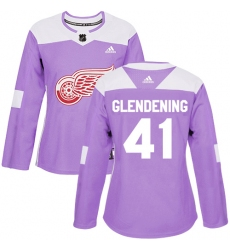 Women's Adidas Detroit Red Wings #41 Luke Glendening Authentic Purple Fights Cancer Practice NHL Jersey