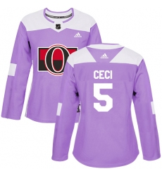 Women's Adidas Ottawa Senators #5 Cody Ceci Authentic Purple Fights Cancer Practice NHL Jersey