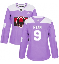 Women's Adidas Ottawa Senators #9 Bobby Ryan Authentic Purple Fights Cancer Practice NHL Jersey