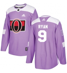 Youth Adidas Ottawa Senators #9 Bobby Ryan Authentic Purple Fights Cancer Practice NHL Jersey