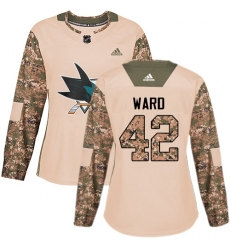 Women's Adidas San Jose Sharks #42 Joel Ward Authentic Camo Veterans Day Practice NHL Jersey