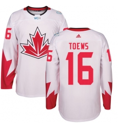 Men's Adidas Team Canada #16 Jonathan Toews Authentic White Home 2016 World Cup Ice Hockey Jersey