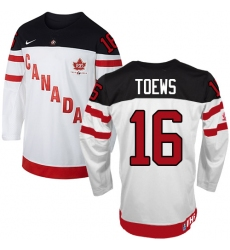 Men's Nike Team Canada #16 Jonathan Toews Premier White 100th Anniversary Olympic Hockey Jersey