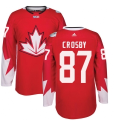 Youth Adidas Team Canada #87 Sidney Crosby Authentic Red Away 2016 World Cup Ice Hockey Jersey