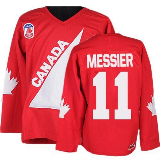Men's CCM Team Canada #11 Mark Messier Authentic Red 1991 Throwback Olympic Hockey Jersey