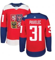 Men's Adidas Team Czech Republic #31 Ondrej Pavelec Premier Red Away 2016 World Cup of Hockey Jersey