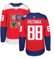 Men's Adidas Team Czech Republic #88 David Pastrnak Authentic Red Away 2016 World Cup of Hockey Jersey