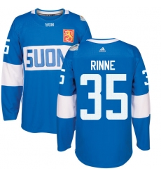 Men's Adidas Team Finland #35 Pekka Rinne Premier Blue Away 2016 World Cup of Hockey Jersey