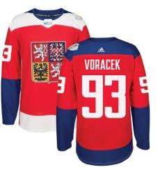 Men's Adidas Team Czech Republic #93 Jakub Voracek Premier Red Away 2016 World Cup of Hockey Jersey
