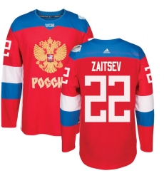 Men's Adidas Team Russia #22 Nikita Zaitsev Authentic Red Away 2016 World Cup of Hockey Jersey