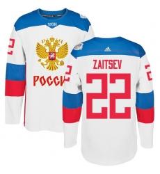 Men's Adidas Team Russia #22 Nikita Zaitsev Premier White Home 2016 World Cup of Hockey Jersey