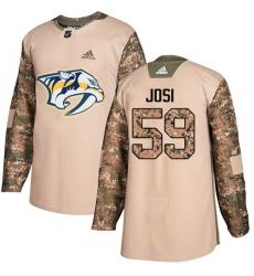 Men's Adidas Nashville Predators #59 Roman Josi Authentic Camo Veterans Day Practice NHL Jersey