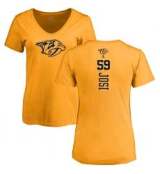 NHL Women's Adidas Nashville Predators #59 Roman Josi Gold One Color Backer T-Shirt