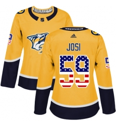 Women's Adidas Nashville Predators #59 Roman Josi Authentic Gold USA Flag Fashion NHL Jersey