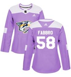 Women's Adidas Nashville Predators #58 Dante Fabbro Authentic Purple Fights Cancer Practice NHL Jersey