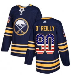 Men's Adidas Buffalo Sabres #90 Ryan O'Reilly Authentic Navy Blue USA Flag Fashion NHL Jersey