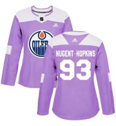 Women's Adidas Edmonton Oilers #93 Ryan Nugent-Hopkins Authentic Purple Fights Cancer Practice NHL Jersey