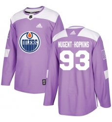 Youth Adidas Edmonton Oilers #93 Ryan Nugent-Hopkins Authentic Purple Fights Cancer Practice NHL Jersey