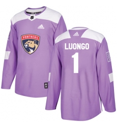 Men's Adidas Florida Panthers #1 Roberto Luongo Authentic Purple Fights Cancer Practice NHL Jersey