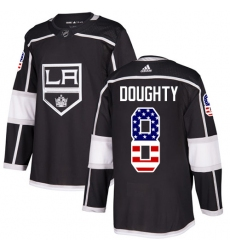 Youth Adidas Los Angeles Kings #8 Drew Doughty Authentic Black USA Flag Fashion NHL Jersey